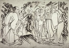 The Three Sages: Confucius, Buddha, and Lao Tsu, from a series in the Kano style