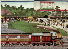 Picture of the Operation of the Steam  Train on the Takanawa Railroad (Tokei Takanawa tetsudo jokisen soko no zenzu)