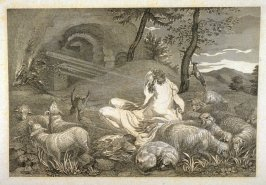 Unidentified scene of revelation, twenty-eighth plate in the book, [Buchanan's Gallery], an untitled collection of engravings primarily from Select Work of Engravings (London: Historic Gallery, 1813-14)]