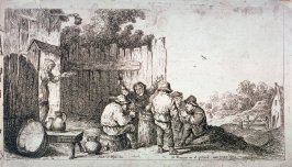 Five Peasants Gathered Around a Barrel