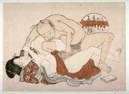 Man crouching over woman