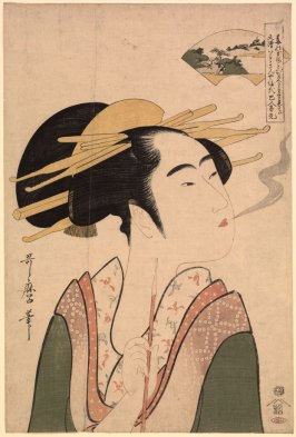 Tama River at Mount Koya (Courtesan Smoking a Pipe), from an untitled series of the Six Tama Rivers