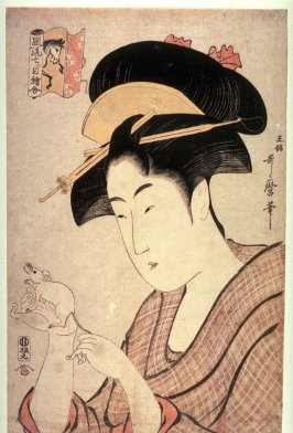 Woman with a Rat from the series Elegant Pictures of Opposites from the Zodiac (Furyu nansume e awase)