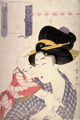 Mother Holding Child on Her Back from the series Twelve Types of Women Matched with Famous Places (Meisho fukei bijin jumiso)