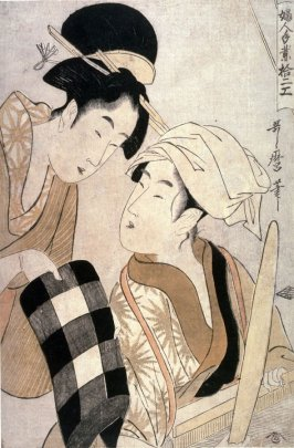 Woman Showing a Bolt of Checked Cloth to a Weaver from the series, Twelve Women's Handicrafts(Fujin towara juniko)