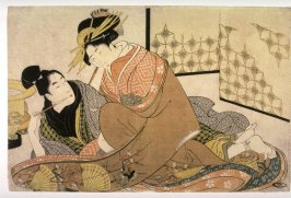 Courtesan with an Adolescent Client, frontispiece of the shunga album Unraveling the Threads of Desire