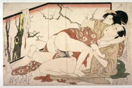 Couple making love by painted screen