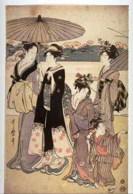 Women and Children Returning from a Flower Viewing Excursion, panel from an unidentified triptych