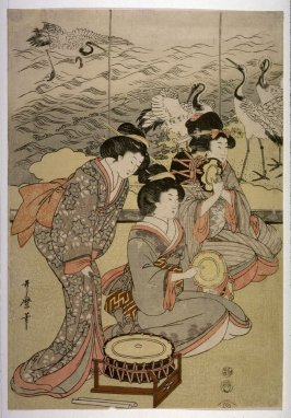 Seated Musicians, perhaps from an unidentfied triptych of Shizuka Gozen Tosses Her Sleeve as 