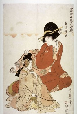 A Child Dressed to Impersonate the Poet Ariwara no Narihira from the series Modern Children as the Six Immotal Poets (Tosei kodomo rokkasen)
