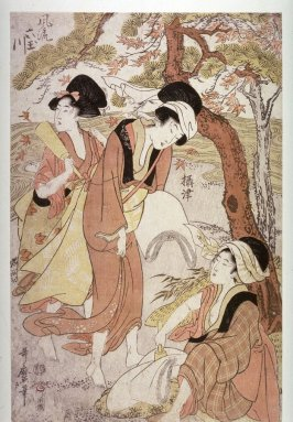 Three Women with Fullers' Mallets (Settsu) from the series The Six Elegant Tama Rivers (Furyu mutamagawa)