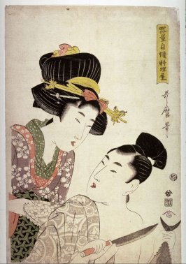 Chef Preparing a Bonito for a Woman with a Porcelain Dish from the series Chefs Famous for Their Looks (Kiryo jiman ryoriya)