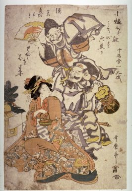 [Ebisu and Daikoku performing a manzai dance for a young woman with a wine kettle]