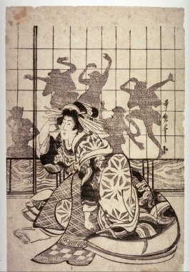 Courtesan Kneeling by a Paper Door with Shadow Dancers