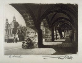 (Musician sitting under arches)