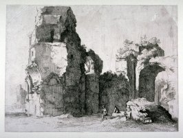 Ruins of castle with separate arch on right