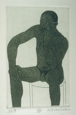 H. seated, pl. 9 from the bound portfolio, The Nude Man (Berkeley: Crown Point Press, 1965)