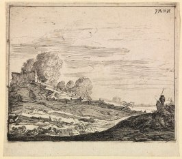 Landscape with a Cottage on a Hill, from a series of four landscapes