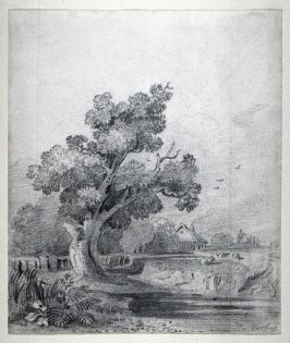 Landscspe with tree and cottage