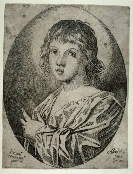 Portrait of a Young Person Pointing Left