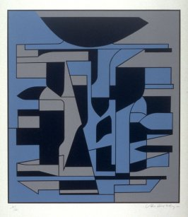 Serigraph in black, blue and grey