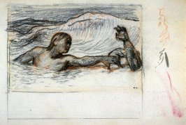 The Rescue. Study for wood engraved plateopposite page 6 in the book, Enoch Arden by Alfred Tennyson, published 1864