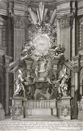 The Catedra Petri of Bernini (The throne of Peter by Bernini), plate 12 from the series Disegni di vari altari e cappelle nelle Chiese di Roma con le loro facciate, fianche, piante e misure (Drawings of altars and chapels in the churches of Rome with thei