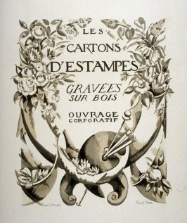 Title Page Illustration from the portfolio Les Cartons d'estampes gravées sur bois, oeuvrage corporative (Portfolio of wood engravings after works of various French artists)