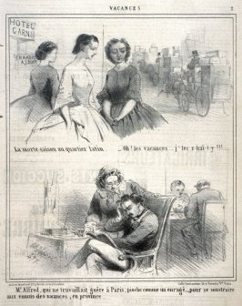 Vacances: La morte-saison au quartier latin..., from Le Charivari