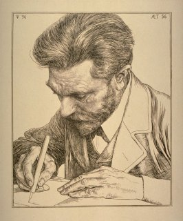 Portrait of an artist, using a pen to draw