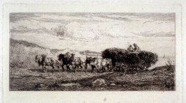 Wagon of hay drawn by horses and cows