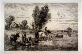 Horses drinking in river,also women washing clothes