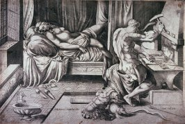 Venus Asleep as Vulcan Works at his Forge