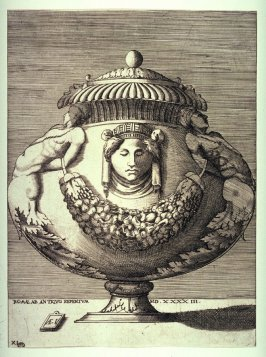 Vase with Figures, Rinceaux, and Festoons, pl. XI from a series of different vases drawn after the antique