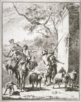 Herd Pointing His Staf at a Stone Wall from the series Pastoral Landscapes (reverse copy)