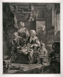 Interior showing a Dutch peasant family