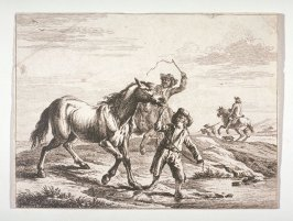 [Men leading a horse across a river]