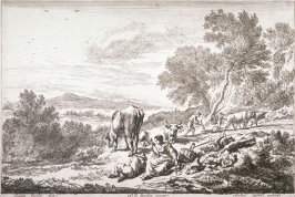 [Woman and man resting on the side of a hill while two boys plow in the background] (Plate 2)