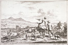 [Woman on a mule pointing down toward the valley] (Plate 4)