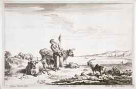 [Woman near bay surrounded by animals] (Plate 3)