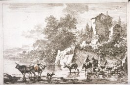 [Peasants crossing a river]