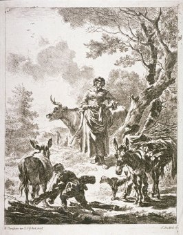 [Woman and two boys in a landscape surrounded by a cow, two mules and a dog ]