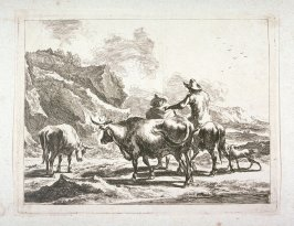 [One man on a mule, one man standing, and two cows walking beside them ]
