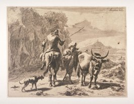 [Shepherd giving directions to peasant mounted on a cow]]