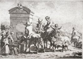 Group of people gathered around water trough, horse drinking
