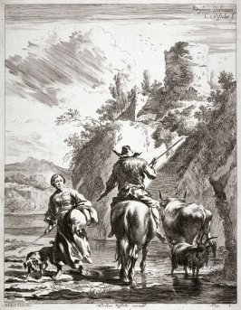 Man on horseback with cow and sheep; woman and dog crossing river