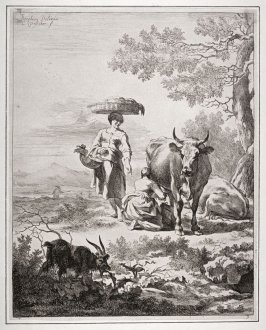[Woman carrying a fruit basket on her head next to a woman milking a cow]