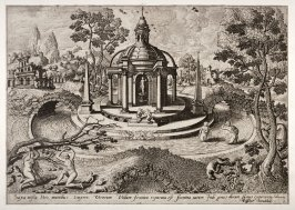 [Landscape with Venus in domed structure surrounded by water] (Plate 1)