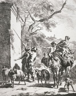 Untitled ( Landscape with figures (women and 3 children riding on a donkey with 3 figures--2 men and 1 woman--on ground pointing to a wall, 3 sheep and a dog)
