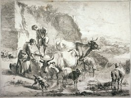 [Woman washing clothes near a stream surrounded by animals]